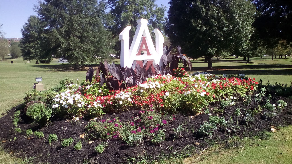 AAMU statue in flowerbed