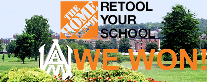 Home Depot logo over campus view
