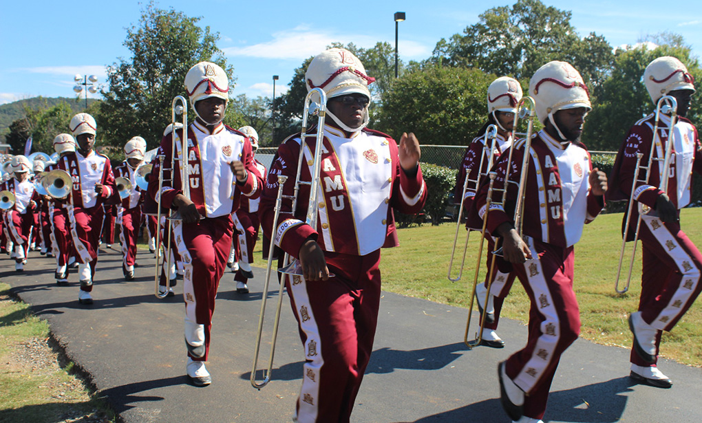 Maroon and White band marching