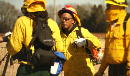 Students learn about firefighting