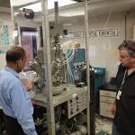 Examining some high-tech lab equipment