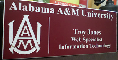 Photo of an Alabama A&M Univeristy name badge