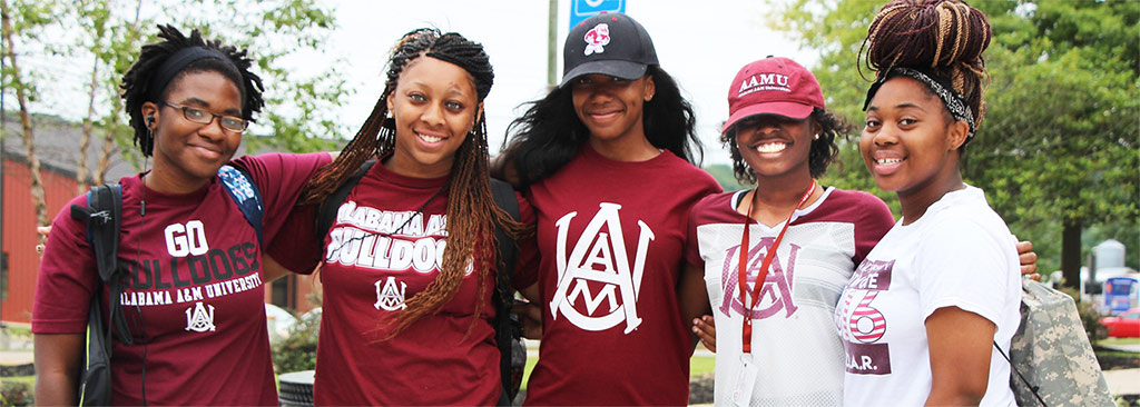 Students wearing AAMU tee-shirts