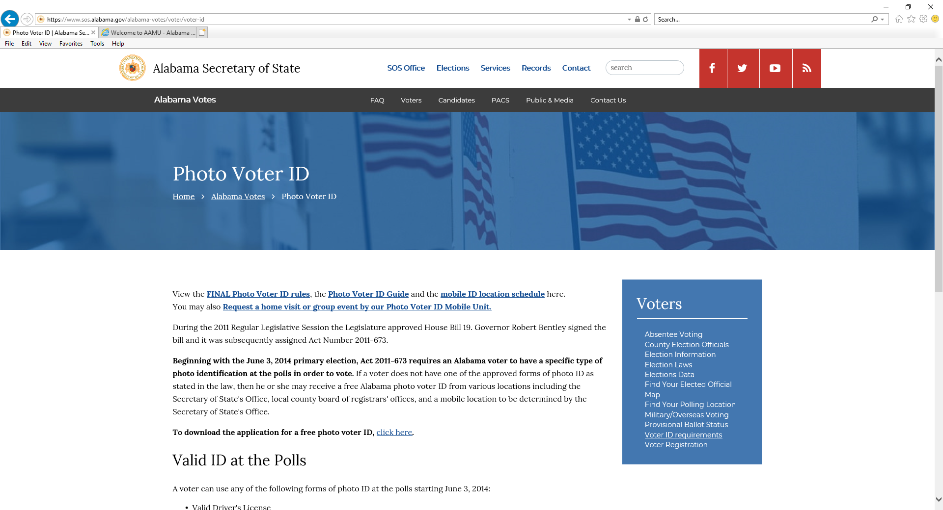 screenshot of Alabama Secretary of State Photo Voter ID webpage
