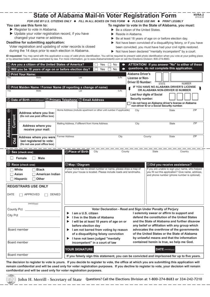 Voter Registration Application Instructions: - Alabama A&M