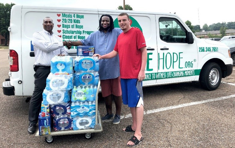 Donating bottled water