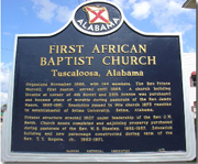 Memorial plaque for First African Baptist Church Tuscaloosa, Alabama