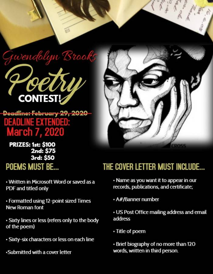 Gwendolyn Brooks Poetry Contest Flyer Deadline Extension