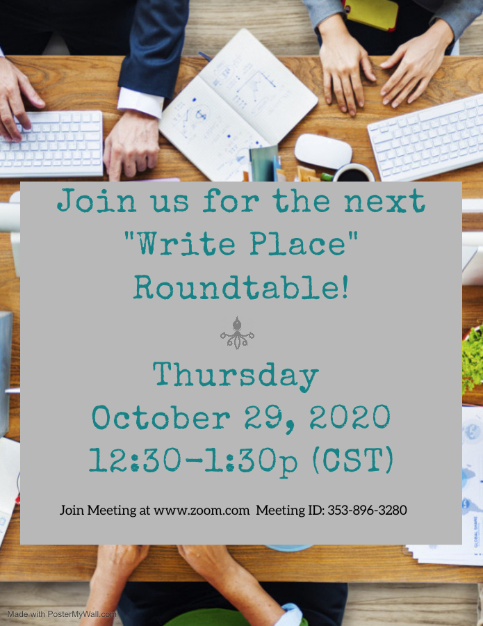 Take Your Seat at the Table: A Writer's Round Table Flyer