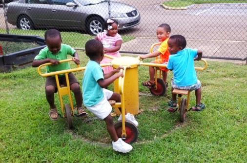 CDC children play in a playground