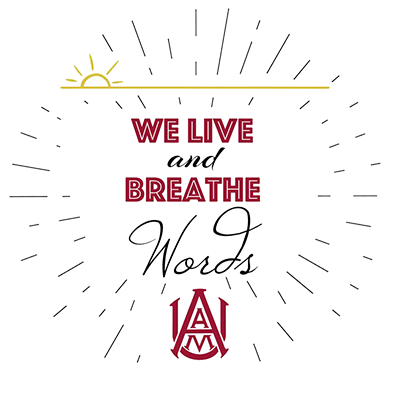 """We Live and Breathe Words"" - Department of English and Foreign Languages logo"
