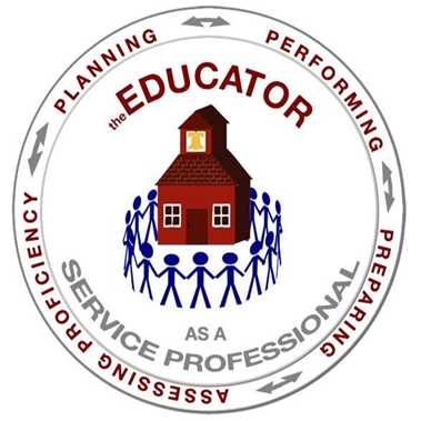 Center for Educator Preparation logo: The Educator as a Service Professional. Planning, Performing, Preparing, Assessing Proficiency.