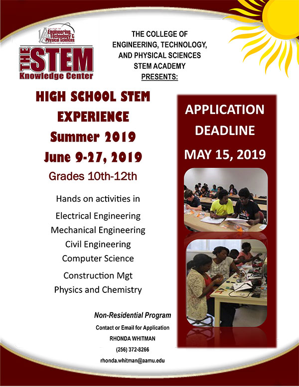 High School STEM Experience flyer - click for readable PDF version of this image