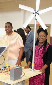 STEM Day students demonstrate a wind- and solar-powered project