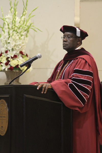 AAMU President Andrew Hugine speaks to a graduating class during Commencement