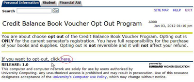 Screenshot of Credit Balance Book Voucher Opt-out  Program screen within Banner Self Service