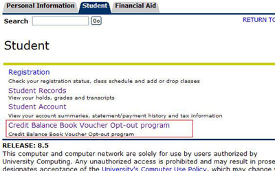 Screenshot of the Student tab within Banner Self Service