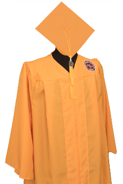A photo of the golden graduate cap and gown.