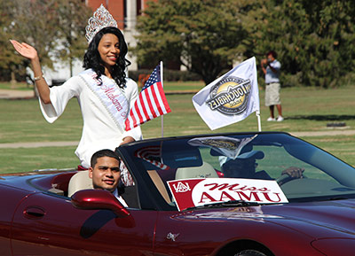 Miss AAMU waves to the crowd from a car in the Homecoming On-Campus Parade